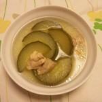 加賀太きゅうりをとうがん風に中華スープにしてみました。 皮がちょっと硬かった・・・